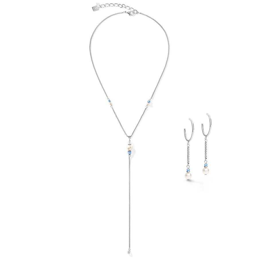 Necklace Ypsilon Chain Crystal Pearl, Swarovski® Crystals & stainless steel silver-light blue
