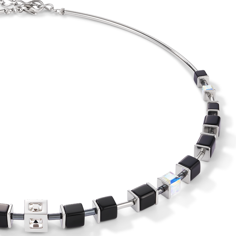 Necklace GeoCUBE® Cube stainless steel & crystal black-silver