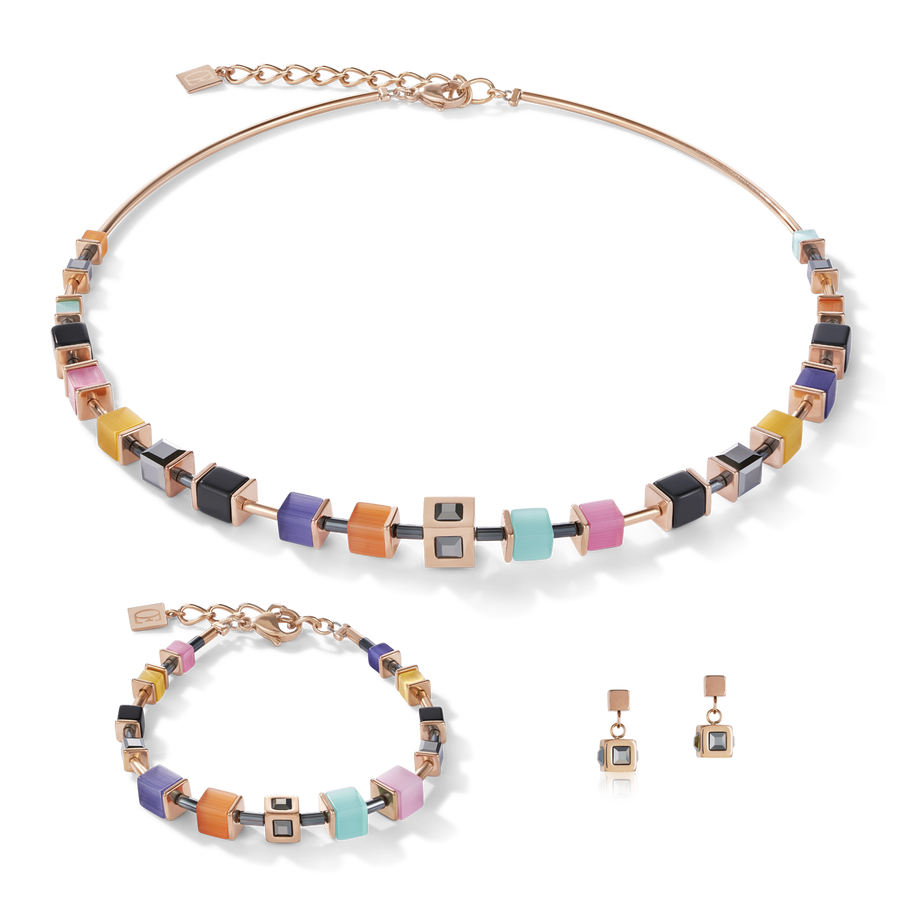 Armband GeoCUBE® Cube Edelstahl roségold & Kristall multicolor couture