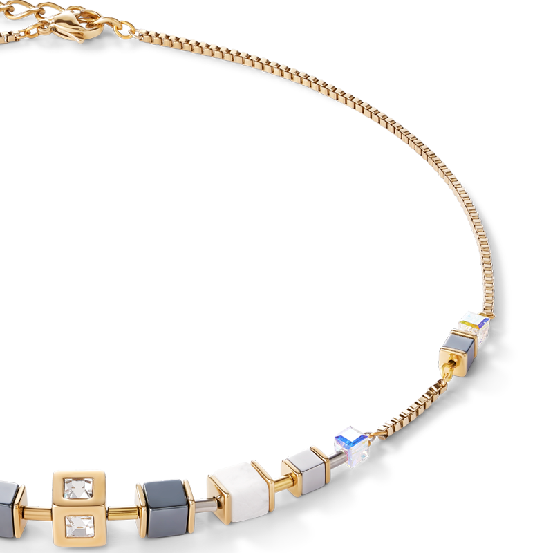 Necklace GeoCUBE® Cube & chain stainless steel & gold