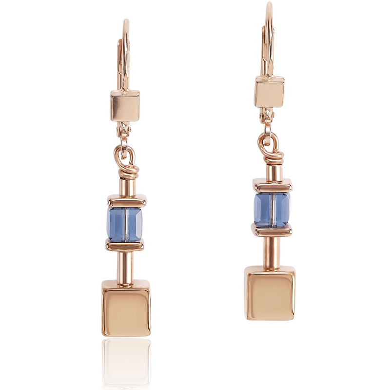 Earrings GeoCUBE® & chain blue