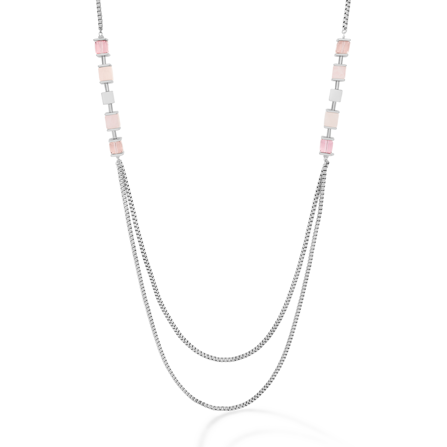 Necklace GeoCUBE® & chain large silver light rose