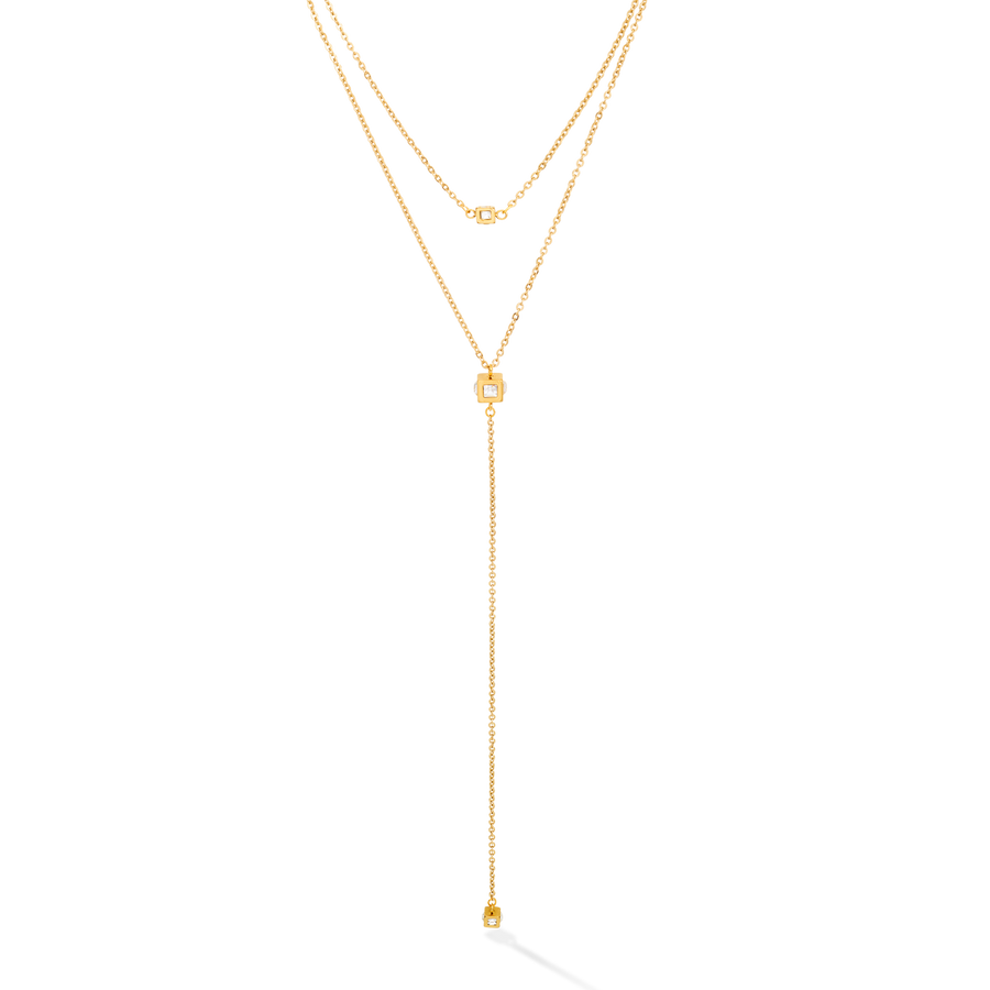 Necklace Y long Minimalist Chain stainless steel gold crystal