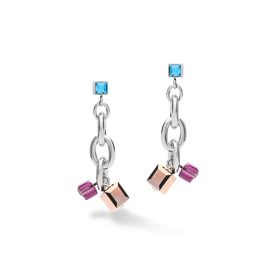 Earrings casual & chunky chain stainless steel & Swarovski® Crystals silver-multicolour Art Nouveau
