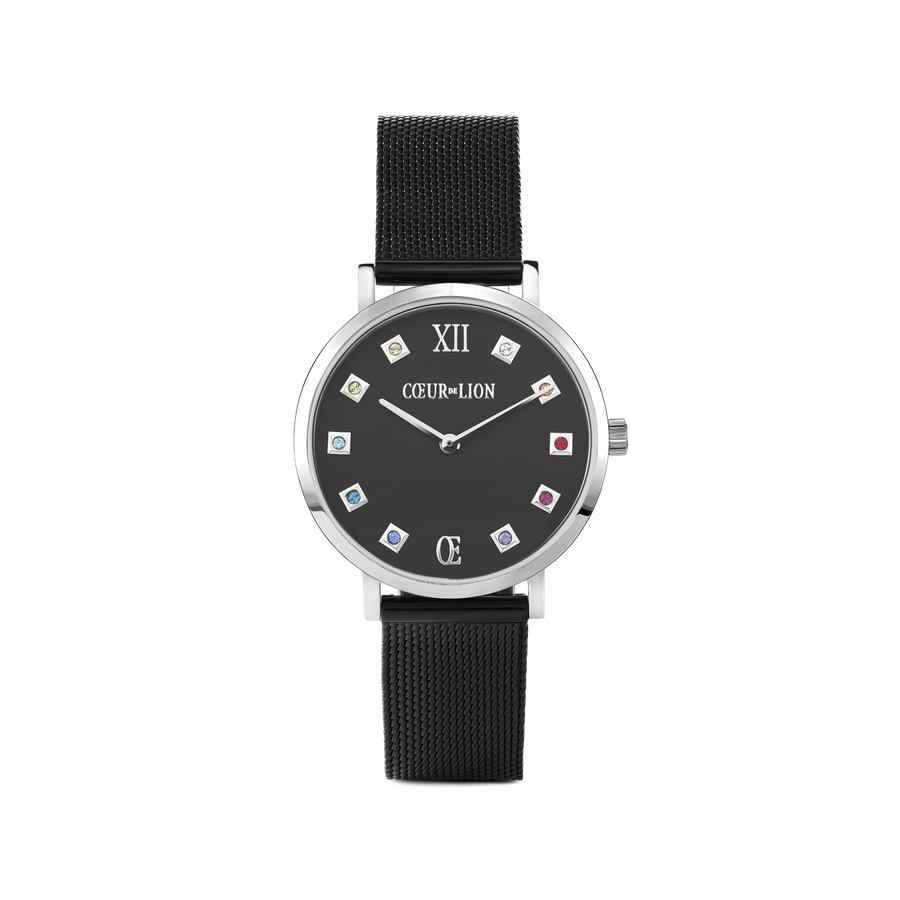 Watch Round Black Matt Milanese Stainless Steel Midnight Black