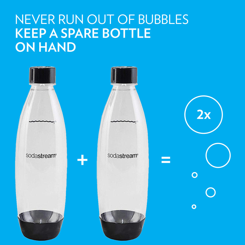 SodaStream 1 Ltr Slim Black Carbonating Bottle