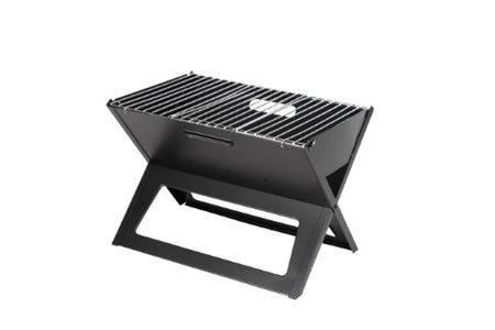 Fire Sense Black Notebook Charcoal Grill Heavy Duty 14 Inch Steel Construction For Outdoor Barbecues