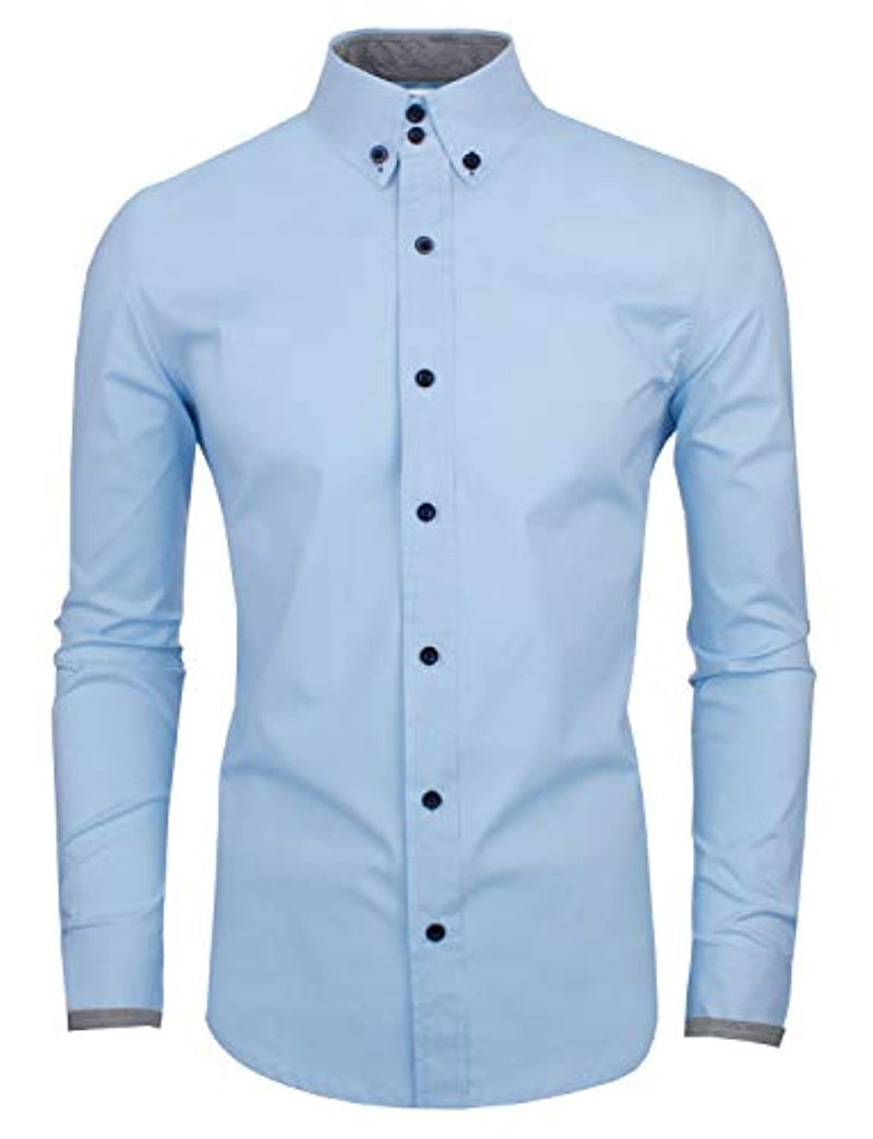 TAM WARE Men's Slim Fit Contrast Long Sleeve Shirts
