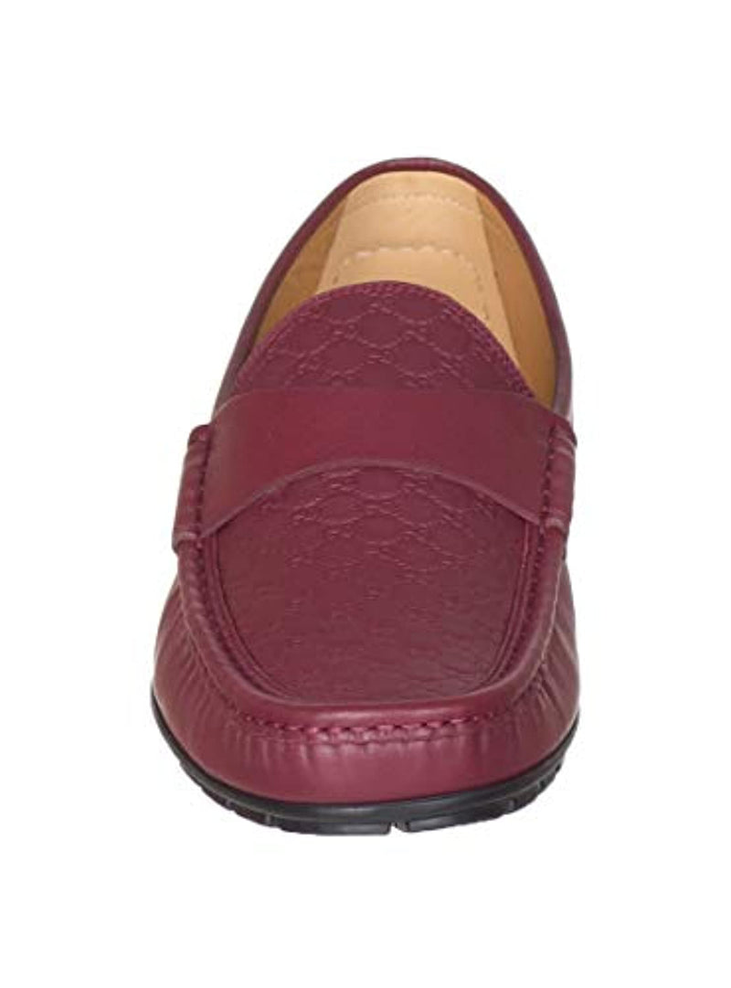 Gucci Men's Red Leather GG Guccissima Moccasin Loafers