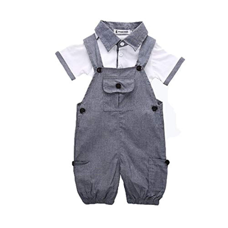 Douleway Toddler Kids Baby Boys Gentleman Romper Vest + Suspenders Shorts 2 Piece Outfits Set