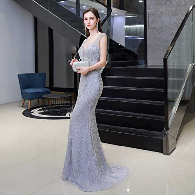 Lazacos Shiny Crystal Trumpet Mermaid Evening Dress 2020 Sexy Prom Gown