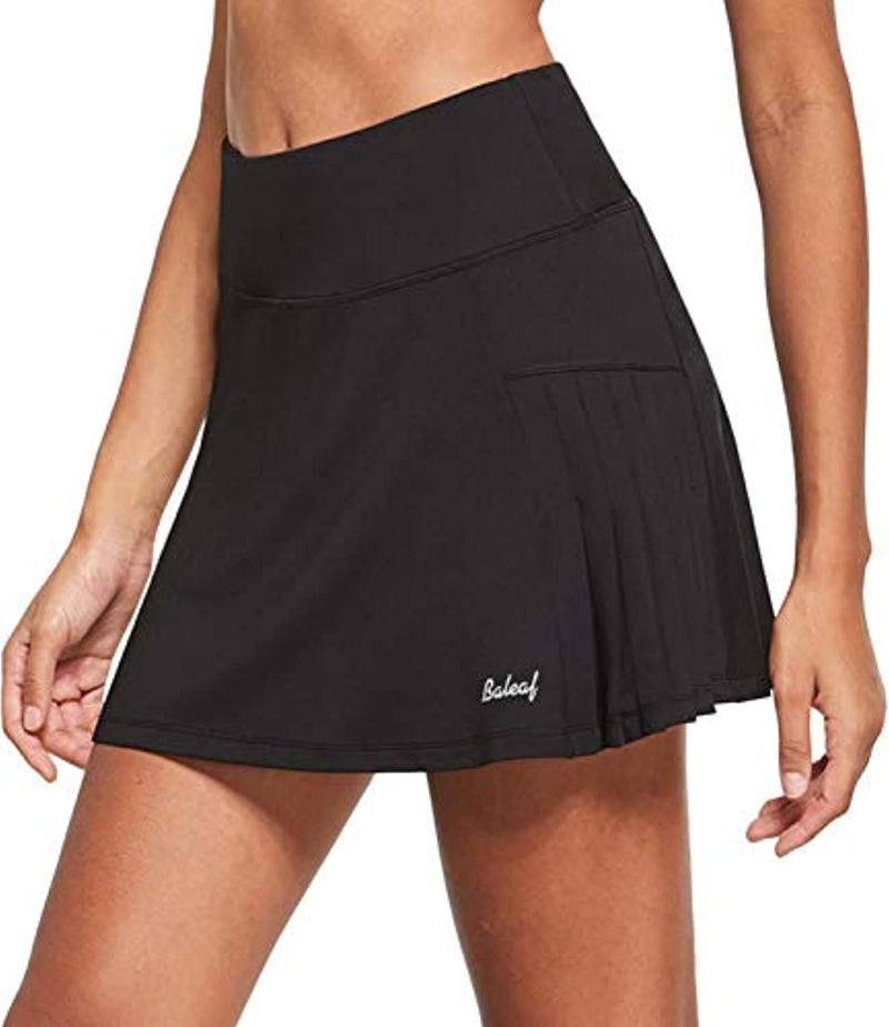 BALEAF Women's Athletic Pleated Tennis Skirts with Mesh Shorts Running Golf Ruffle Skorts Ball Pockets Miniskirt