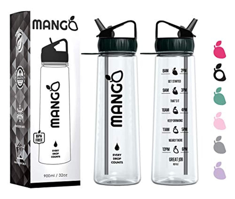 Mango Motivational Water Bottle With Straw and Time Markings [900ml/32oz]