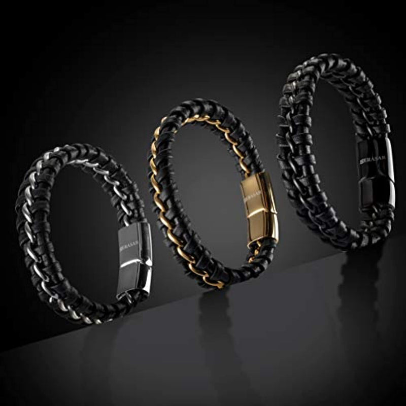 Serasar | Premium Genuine Leather Bracelet for Men in Black