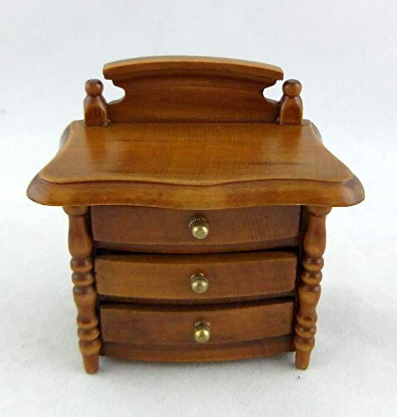 Town Square Miniatures Dolls House Miniature Bedroom Furniture Walnut Wood Bedside Chest Nightstand