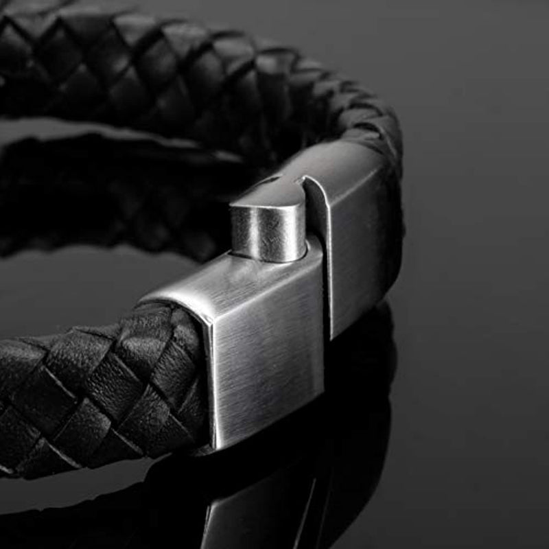 Men's Leather Bracelet with Magnetic Clasp 20 + 1.5 cm