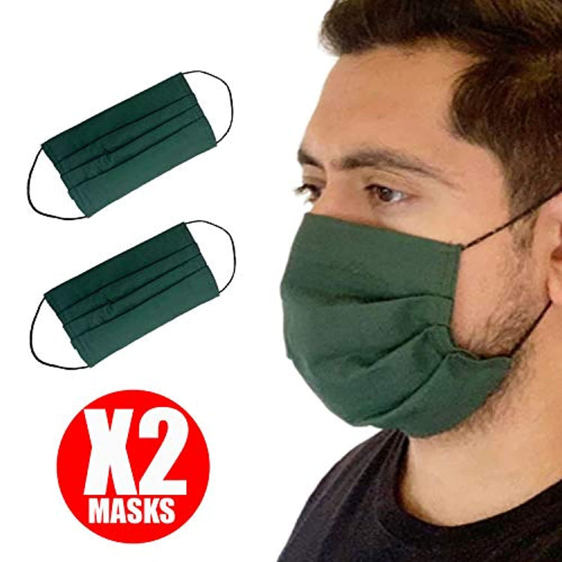 Reusable Face Mask GENERISE Double Fabric Cotton Face Mask x2 - Pleated for Extra Breathability & Comfort - Washable (Forest Green)