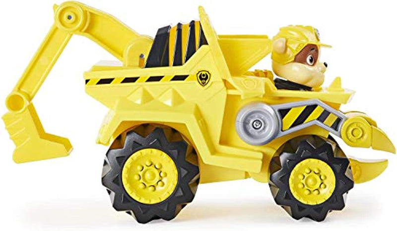 PAW PATROL 6059519 Dino Rescue Rubble's Deluxe Rev Up Vehicle with Mystery Dinosaur Figure
