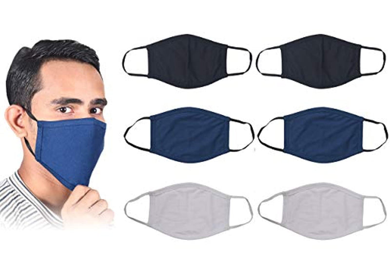 Pack of 6 Cotton Reusable Face Masks - Protective Fabric Cover, Washable & Breathable Mouth Mask Bandanas For Men and Women