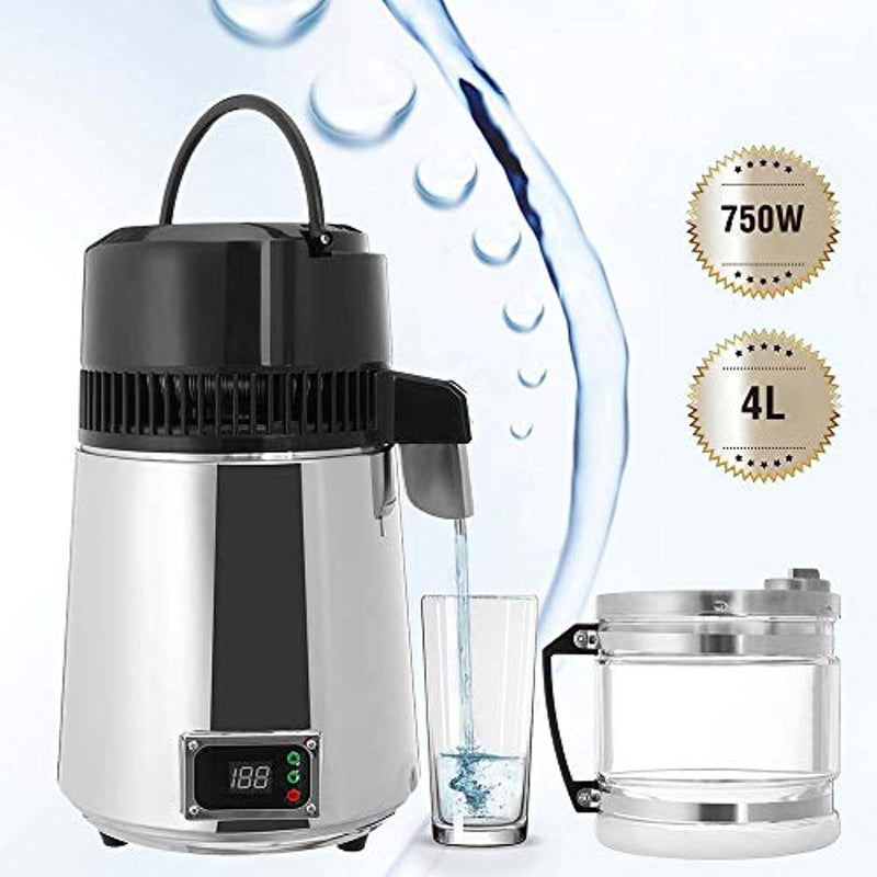 CWWHY Countertop Water Distiller, 750W Digital Panel Adjustable Temperature, Stainless Steel Purifier