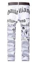 Enrica Men's Casual Letters Printed Jeans Skinny Denim Pants