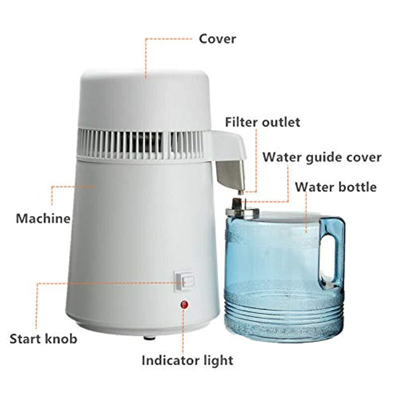 OUBO 4L Home Medical Use Water Pure Distiller Purifier 750W Portable Water Filter
