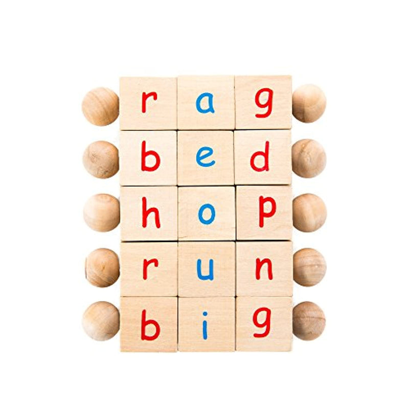 Montessori Phonetic Letter Blocks for Reading and Early Learning (5-Piece Set) + Book and Bag