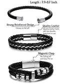 Jstyle 3Pcs Stainless Steel Braided Leather Bracelet for Men