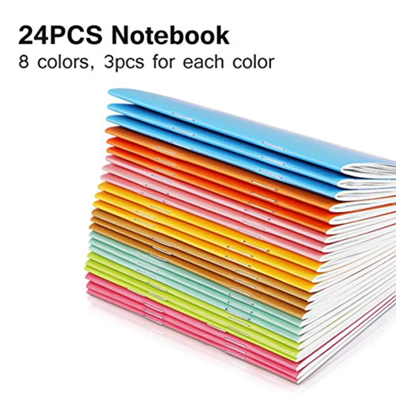 NUOBESTY A6 Memo Notebooks, Assorted-Colored Journal, Mini Daily Diary Notepad, 8 Colors - 24pcs