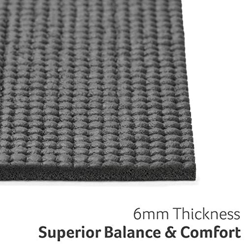 Core Balance Yoga Mat, Thick Foam 6mm, Non Slip, Exercise Fitness Gym, Compact Lightweight With Carry Strap