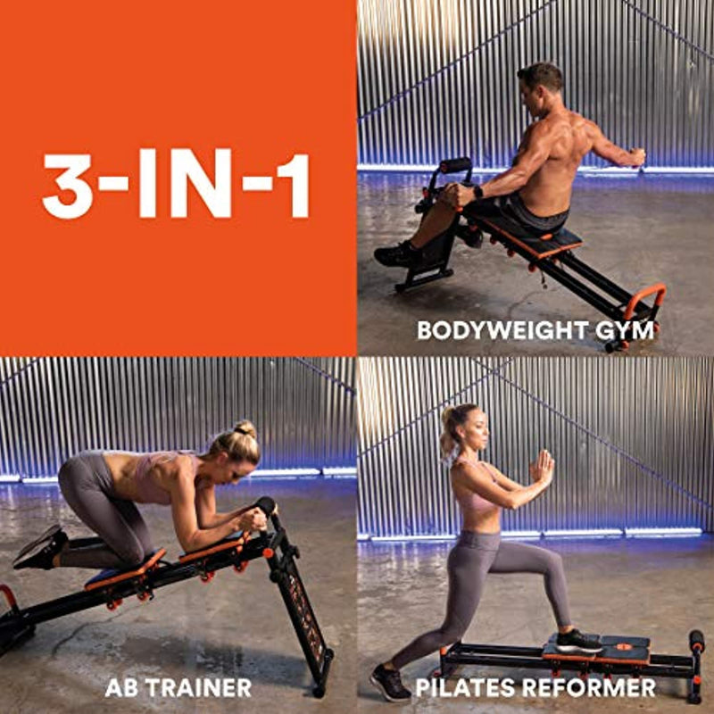 New Image Fitness Equipment FITTGym FITT Gym MultiGym Home Workout Machine, Collapsible & Easy Assemble, Adjustable Positioning for Total Body, Orange, Large