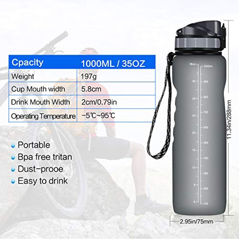 Invool Leakproof Sport Water Bottle 1 Litre, BPA Free Reusable Tritan Plastic Water Bottle with Filter