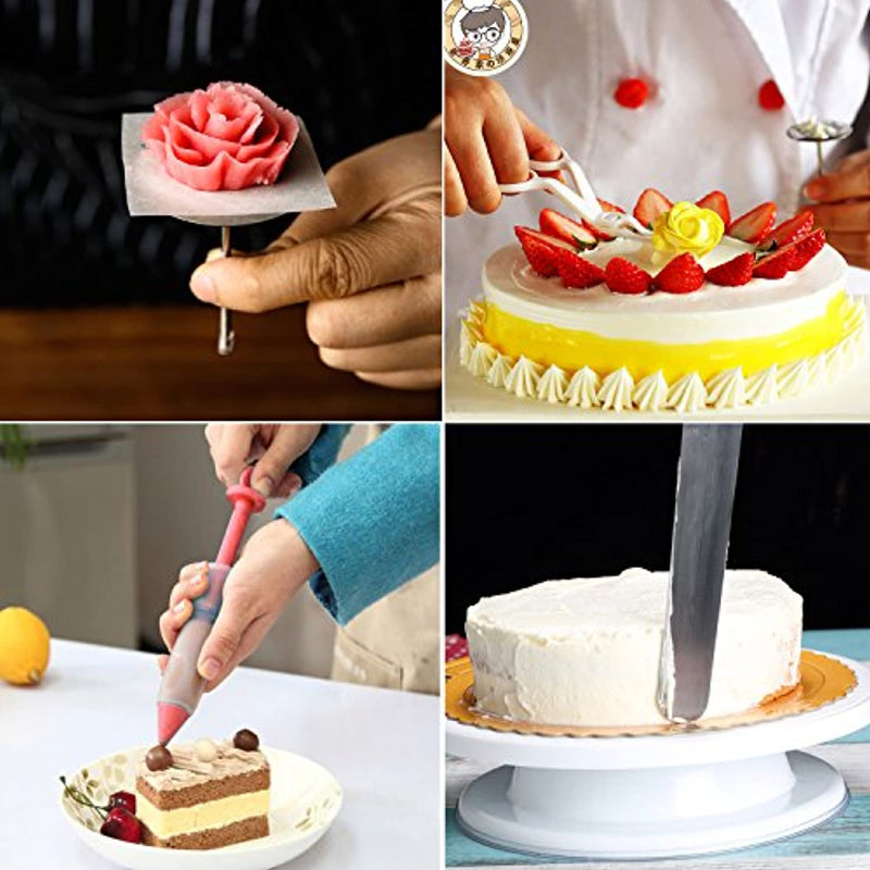 WisFox Rotatable Cake Plate Cake Decorating Turntable with icing, piping bag and tips set, pastry tool