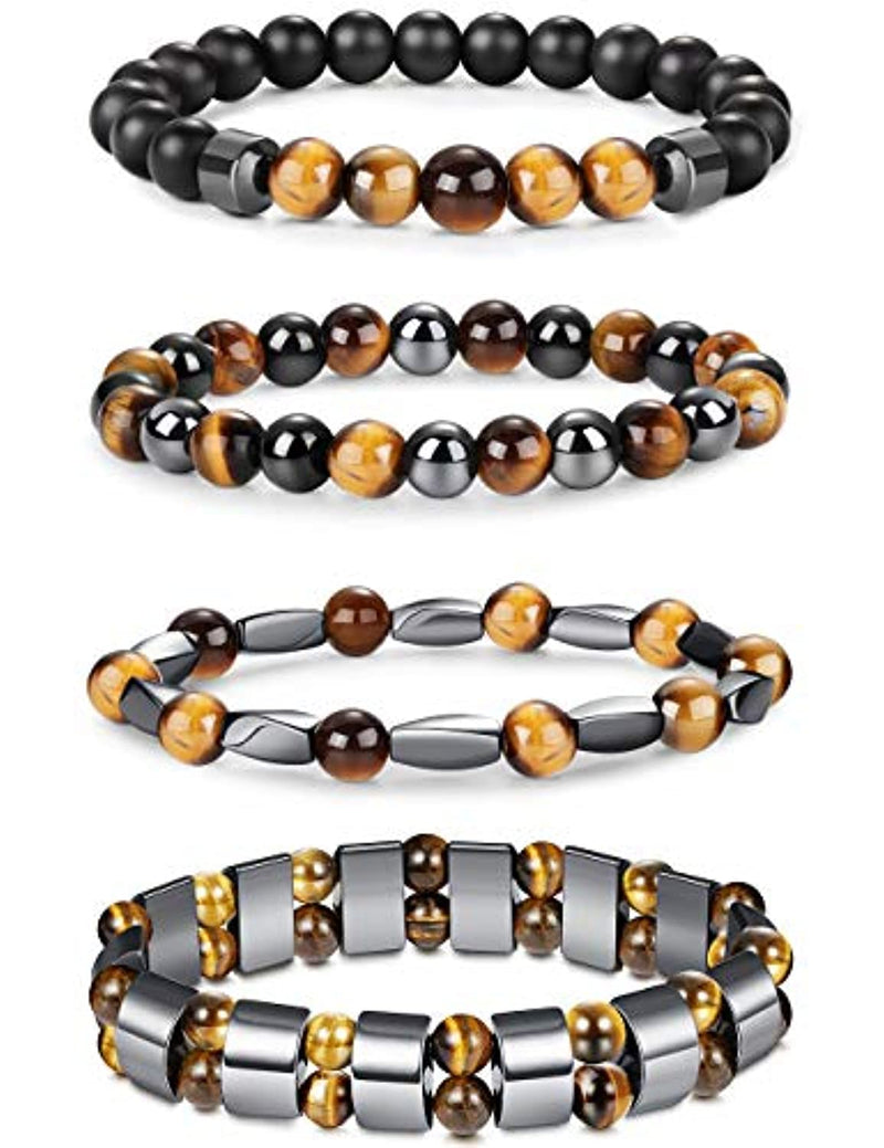 Jstyle 4Pcs Hematite Bead Bracelet for Men