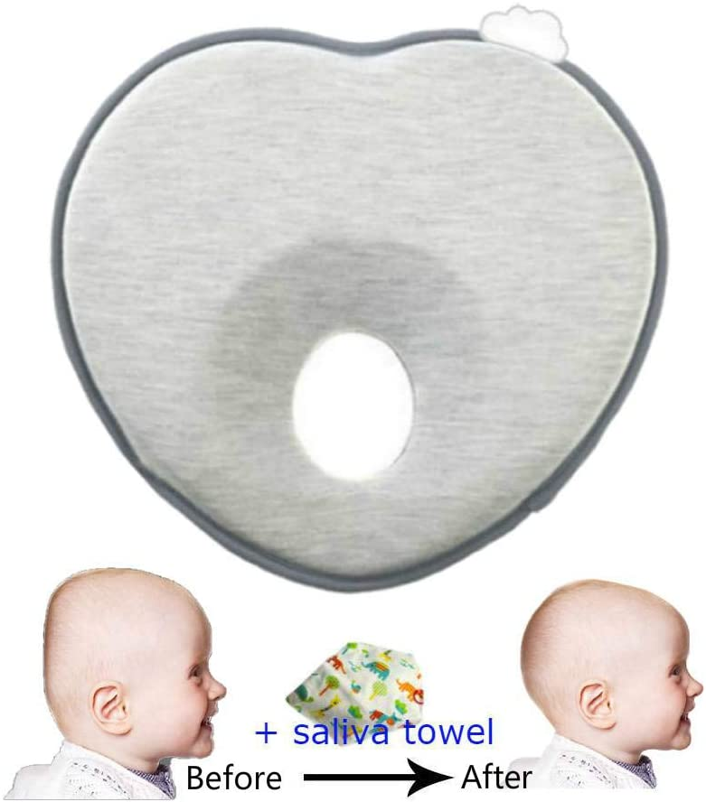 OnefunTech Baby Head Shaping Pillow, Newborn Infant Anti Roll Pillows Neck Prevent Baby Flat Head Pillow Made with Breathable Memory Foam Cotton, Ergonomic Design Baby Gifts (Grey)