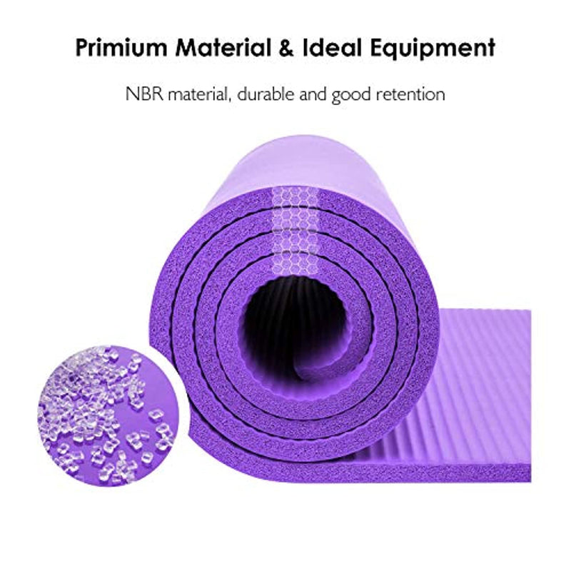 REEHUT Exercise Mat NBR Fitness Yoga Mat 12mm Extra Thick High Density NBR Mat for Pilates/Fitness/Workout