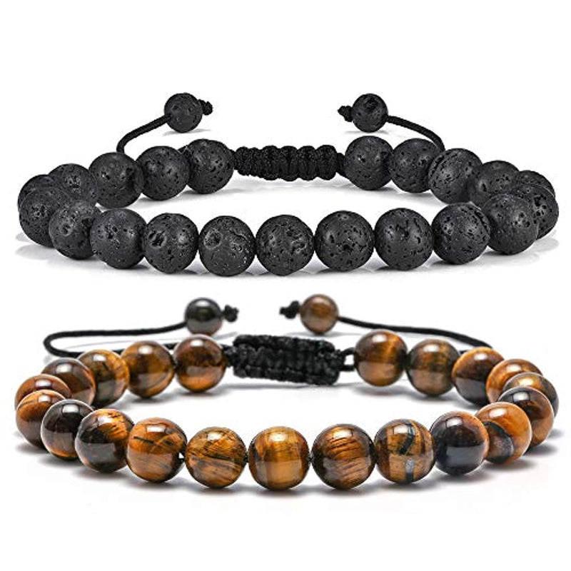 Tiger Eye Lava Rock Stone Men's Anxiety Bracelets