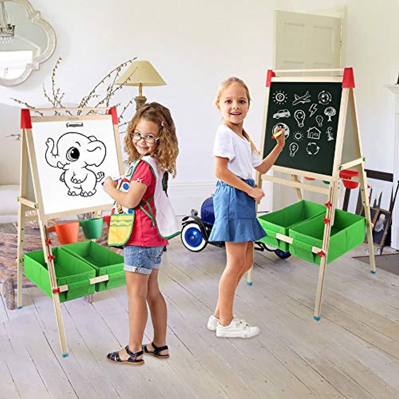 Arkmiido Easel with Paper Roll Double-Sided Whiteboard & Chalkboard Standing Easel with Numbers and Other Accessories for Kids