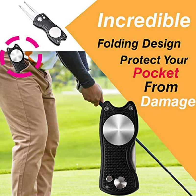 Wonolo Golf Divot Tool, Pop-up Button Stainless Steel Switchblade and Foldable Magnetic with Golf Ball Marker