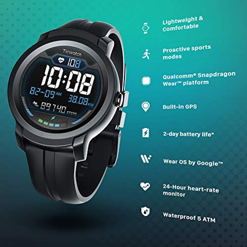 TicWatch E2, 5ATM Waterproof GPS Smartwatch with 24 Hours Heart Rate Monitor