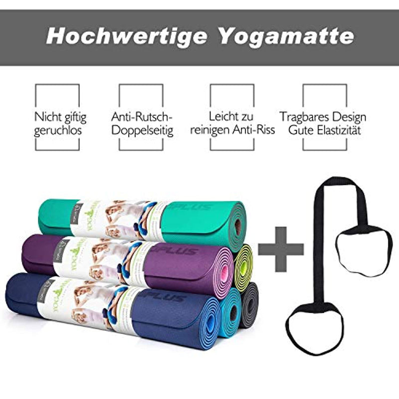 TOPLUS Yoga Mat, Classic Pro Yoga Mat TPE Eco Friendly Non Slip Fitness Exercise Mat with Carrying Strap