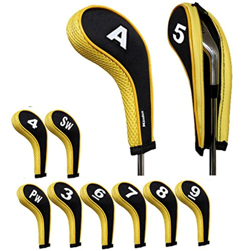 Andux Number Print Golf Iron Covers with Zipper Long Neck 10pcs/set MT/W06 (Black/yellow)