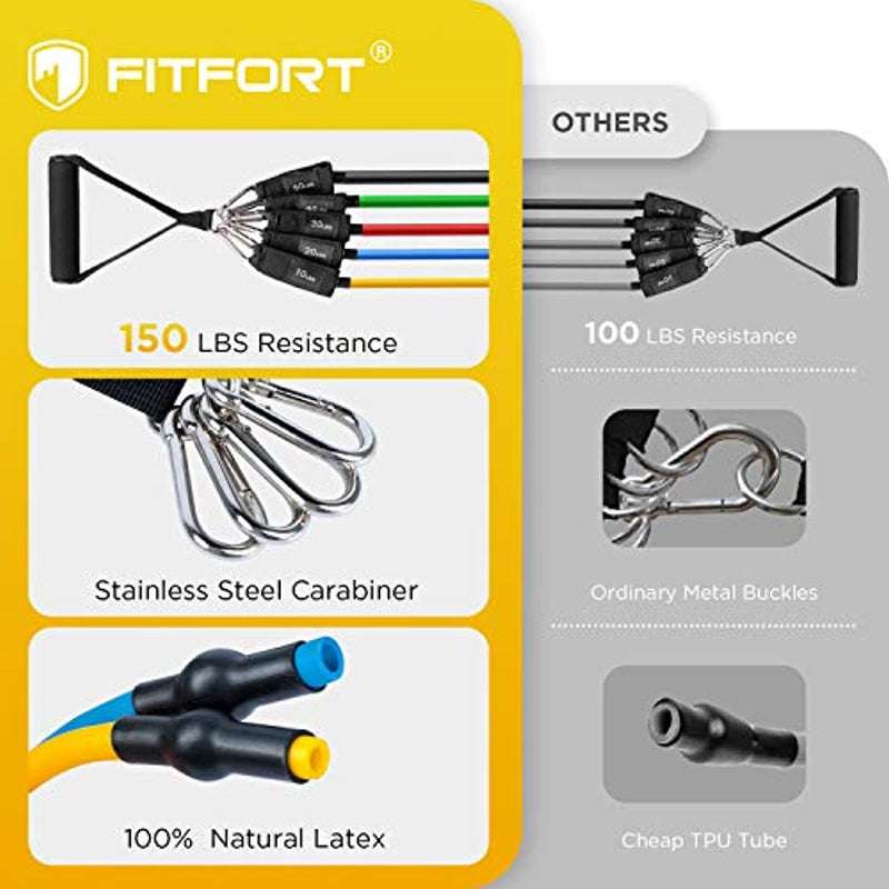 FITFORT Resistance Bands Set, 11 Pack Exercise Bands Stackable up to 150lb, Indoor/Outdoor