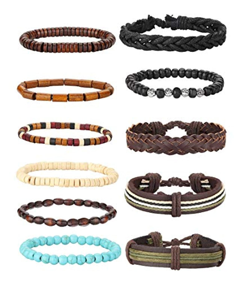 Milacolato 26 Pieces Woven Braided Leather Bracelet for Men Women