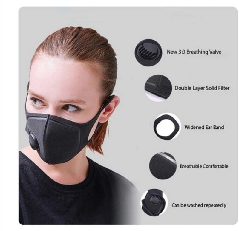 1Above_Face Covering Mask For Men and Women With Valve Reusable & Washable, Outdoors, Sports, Motorcycle, UK Seller. (5PCS)