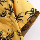 Terbklf Men's Standard-Fit Tropical Hawaiian Shirt Beachwear