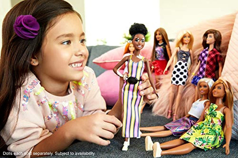 Barbie GHW51 Fashionistas Doll with Vitiligo and Curly Brunette Hair Wearing Striped Dress and Accessories