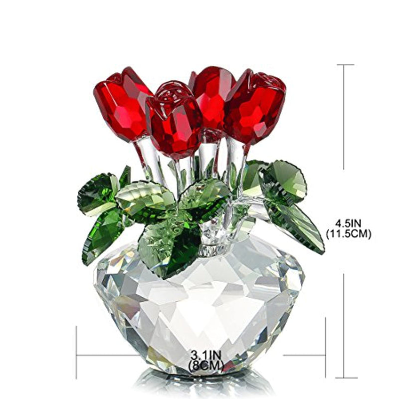 H&D HYALINE & DORA Red Rose Figurine Ornament Gift for Mother