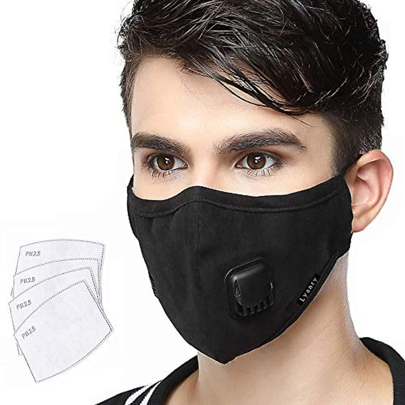 Lyanty Anti Pollution Mask Lightweight Breathable Mask Washable Cotton Mouth Masks with Valve Replaceable Filter (One Mask + 4 Filters)-Man Black