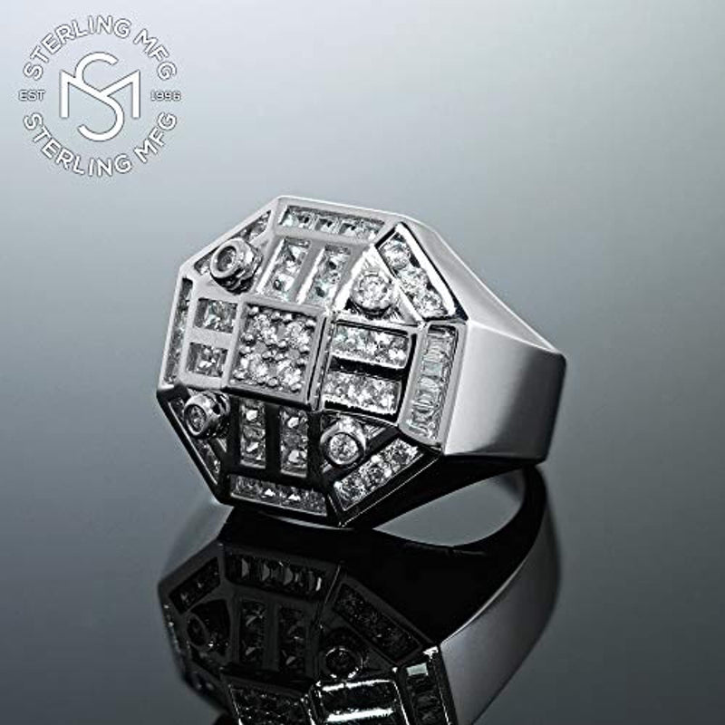 Men's Sterling Silver- Iced Out Hip Hop Jewelry, Bling Ring, Eye Catching Design